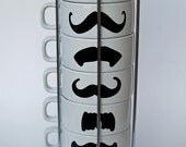 White Mustache Coffee Mugs - set of 6 stackable mugs and chrome holder