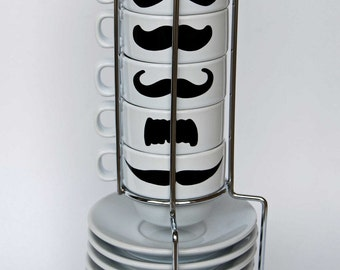 White Mustache Espresso Mugs and Saucers - set of 6 and a chrome holder