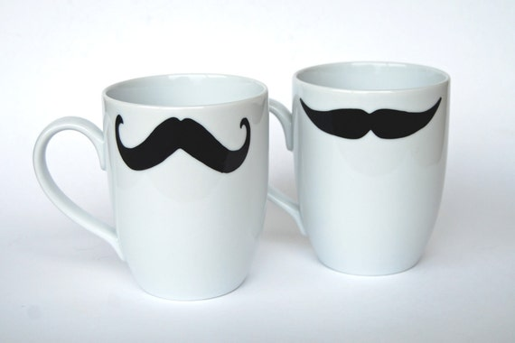 Mustache Coffee Mugs - WHITE - set of Two - select from eight different styles