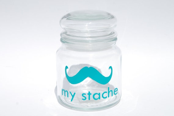 My Stache medium jar....the Gentleman Mustache Glass Jar...a perfect place for your 'STACHE' ....THREE color options