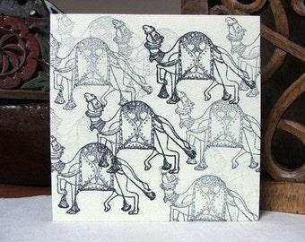 Camel Handprinted Card