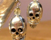 Silver Skull Earrings with clear beads