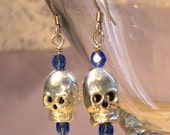 Silver Skull Earrings with blue beads