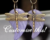 Dragonfly Leaf Earrings - Design Your Own - Custom Made
