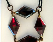 Red diamond glass and leather necklace