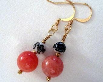 Mandarin Orange stone earrings