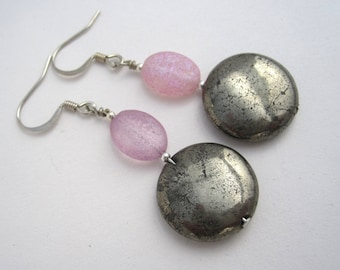 Iron pyrite and pink crackled glass earrings