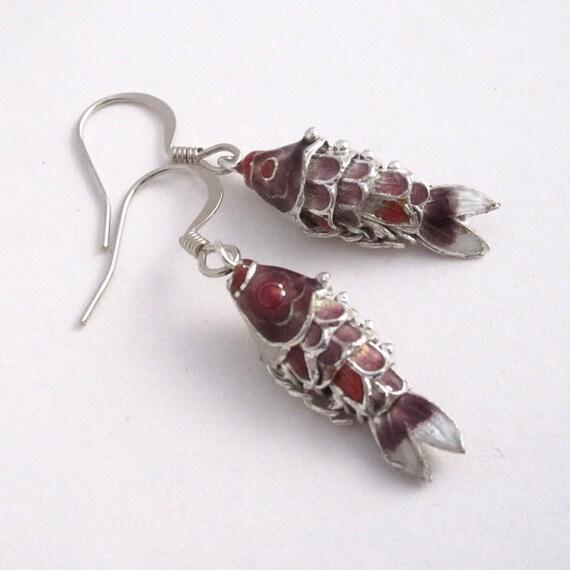 Cloisonne Wiggle Fish earrings - Purple