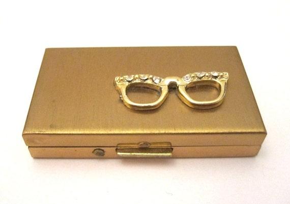 Vintage brushed gold contact lense case