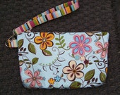 Wristlet Purse Small Clutch Small Zipper Pouch with Detachable Strap - Bridesmaid Purse in Aqua and Pink Springtime Flowers