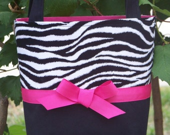 Zebra Print, Black and Hot Pink Small Bag, Purse, Tote, Little Girls Purse