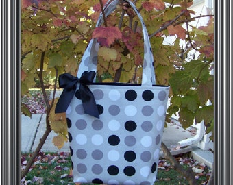 Gray with Black and White Polka Dots Bag, Purse, Tote, Book Bag