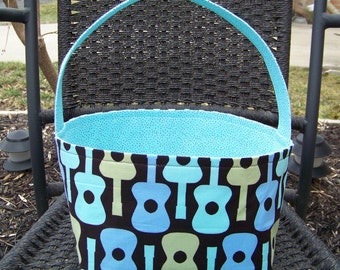 Groovy Guitars in Aqua, Light Blue and Light Green on Dark Brown Background Fabric Easter Basket - Made to Order - Personalization Included