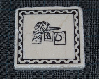 No. 1 Dad - Hand Stamped Travertine Tile Coasters - Set of 4 - Great Father's Day Gift