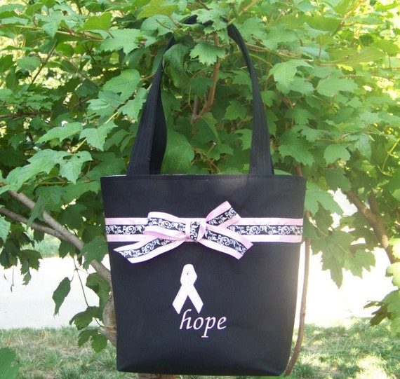 Purse Tote Diaper Bag in Black and Pink with Breast Cancer Ribbon and Hope embroidered in Pink
