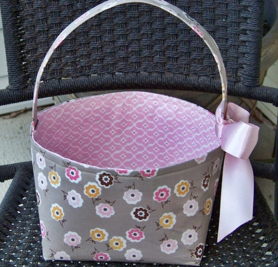 Riley Blake Taupe with Pink and Brown Flowers Fabric Easter Basket-Made to Order-Personalization Included