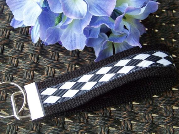 Wristlet Key Fob Key Chain - Black and White Harlequin Print on Black