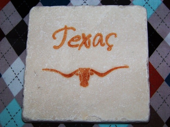 Texas Longhorn - Hand Stamped Travertine Tile Coasters - Set of 4 - Great Father's Day Gift