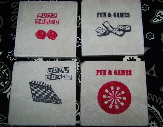 Fun and Games in Black and Red - Chess Darts Dice Dominoes - Hand Stamped Travertine Tile Coasters - Set of 4 - Great Father's Day Gift