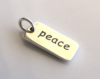 PEACE Sterling Silver Word Charm