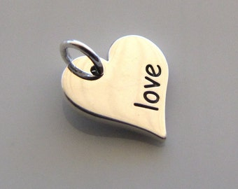 LOVE Sterling Silver Heart Word Charm
