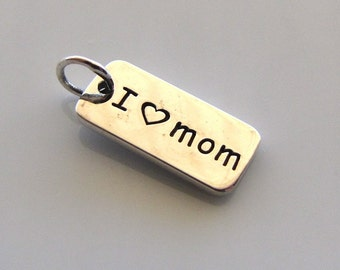 Sterling Silver I LOVE MOM Word Charm