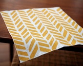 Linen Cocktail Napkins - Four Feathers in Maize on Ivory Linen (set of 4)