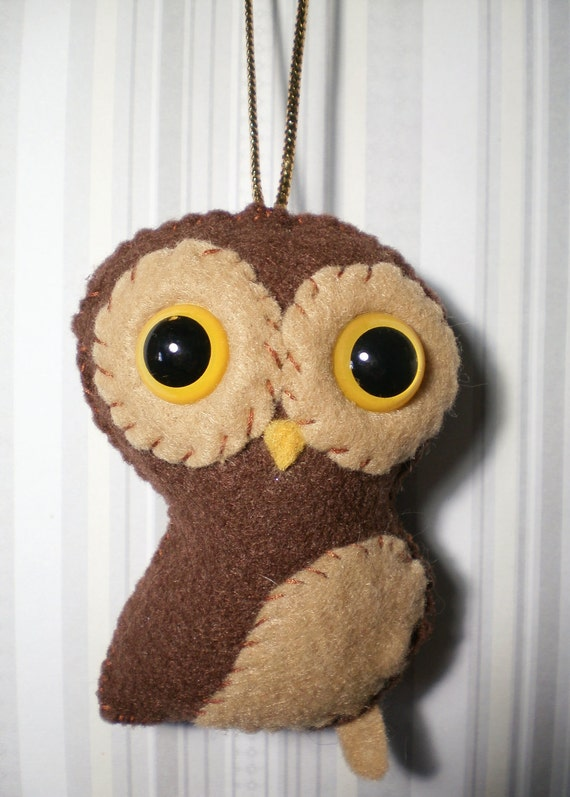 Little Forest Owl - Hand-stitched felt owl ornament plushie