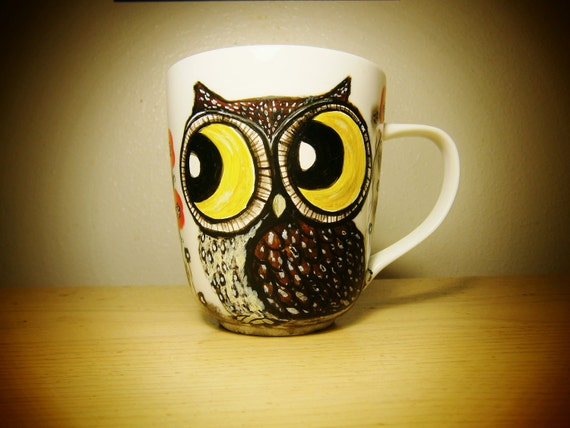 The Owl and the Cat - Cute Characters Handpainted LARGE  porcelain coffee mug