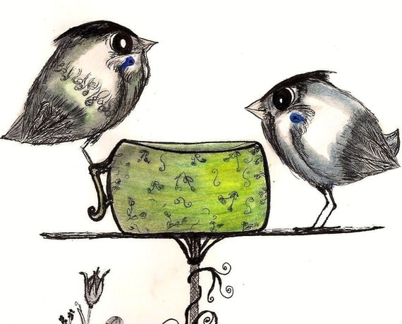 "RESERVED FOR Trina - The Sparrows Teatime -  8-1/2 X 11"" premium glossy Art Print - garden birds springtime"