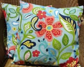 """Outdoor Pillow Covers, Blue Floral Pillow Covers, Outdoor Cushions, Set of 2 - 18"""" x 18"""""""