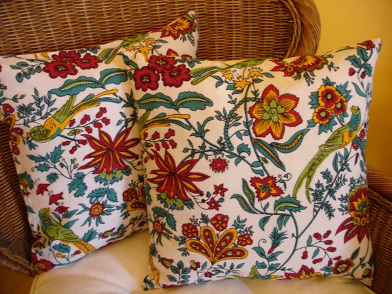 Birds Pillow Covers, Floral Pillow Cover Accent Pillow Cover, Boho, SALE