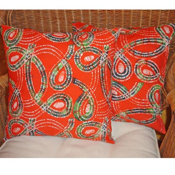 "Orange Batik Pillow Cover, Orange Pillow Cover, 18"" Pillow Covers, Batik Candle Mat, Price Reduced"