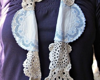 SALE Scarf Vintage Doily Mabel. Doilies Cream. Clothing. Crochet. Shabby Chic. Garland. Domum Vindemia Rustic Wedding Bridal Gift