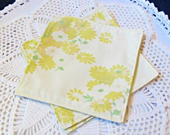 Reusable Cocktail Napkins Cloth Napkin Set. Retro Vintage Bed Linen Fabric Yellow Green Floral 1970s. Set of Four Handmade Upcycled Picnic