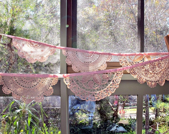 Bunting Elsa Vintage Doilies Doily Bridal Banner Upcycled Wall Hangings. Pink Beige Crochet Repurposed Eco Friendly