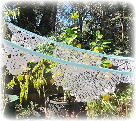 Bunting Susannah Vintage Doilies Doily Bridal Banner Upcycled Wall Hangings. Aqua Cream Ecru Crochet Repurposed Eco Friendly