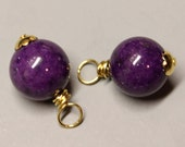 Purple Jade - 2 Pcs - DANGLES - 24mm - Wire wrapped - Gold - Ref 26