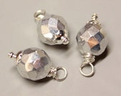 DANGLES - 3 Pcs - Silver - 23mm - Faceted - Fire Polished Czech Glass - Wire wrapped - Silver - Ref 38