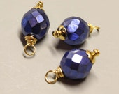 DANGLES - 3 Pcs - Cobalt Blue - 25mm - Faceted - Fire Polished Czech Glass - Wire wrapped - Gold - Ref 43