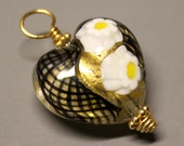 Venetian Glass - Heart - 1Pc - DANGLE - 30mm - Black  - Wire Wrapped - 24 kt Gold Vermeil - ref 41