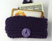 iPhone Cover, Card Holder, Business Card Case, Hand Knitted Purple  Pouch