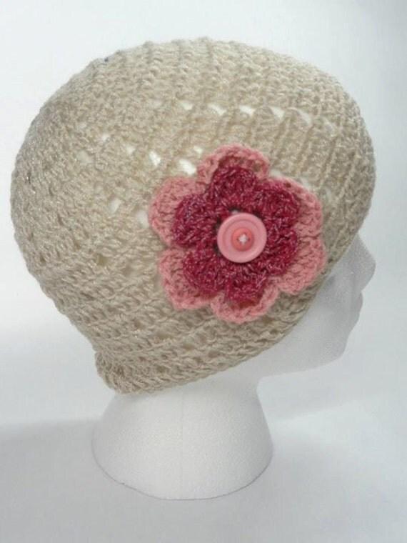 Crochet Hat, Beige, Pink Flower