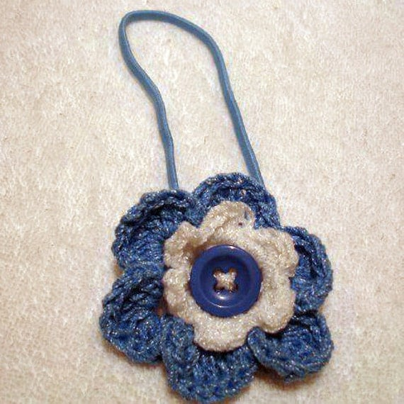 Crochet Layered Flower in Elastic Headband  Boho