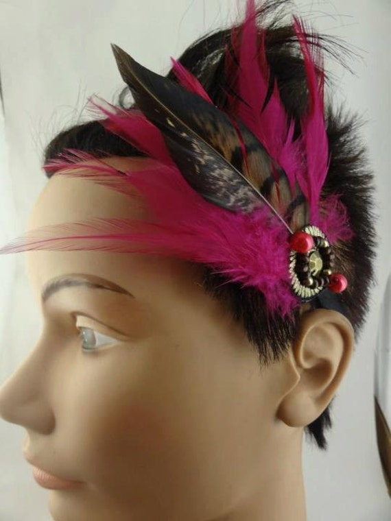 Fascinator Pink Feathers  Great Gatsby Style Rhinestone, Headband fascinator