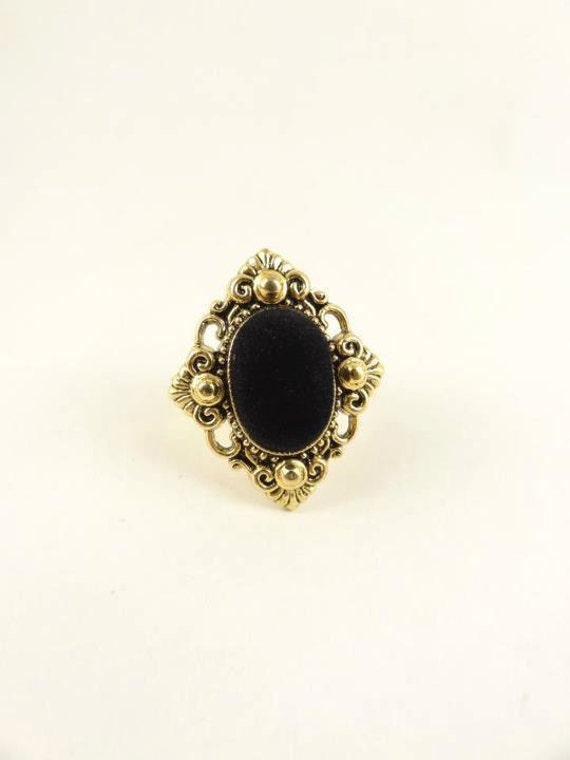 Oval Ring, Black and  Golden,  Adjustable