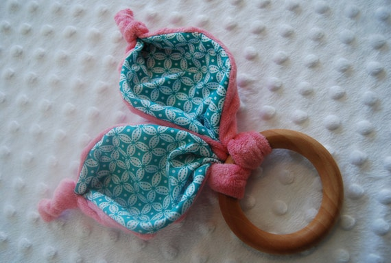 Old Wooden Toy Organic Teething Ring Bunny Crinkle Rabbit Ears Pink Plush Minky with Teal Modern Design