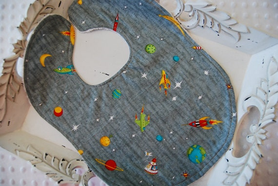 Rocket Outerspace Robot Planets Boy Baby Bib Babyshower Gift Hawaii Birthday Party