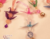3 Upcycled Japanese Mini Origami Crane Charms / Mini Origami Crane Ornaments