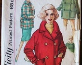 Vintage 1960s Sewing Pattern Simplicity 4110 - Women's Short Coat or Jacket and Carcoat / Car Coat with Hood - Bust 36